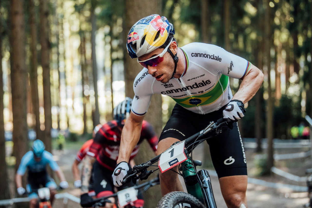 Henrique Avancini performs at UCI XCO in Nove Mesto na Morave, Czech Republic on October 4th, 2020