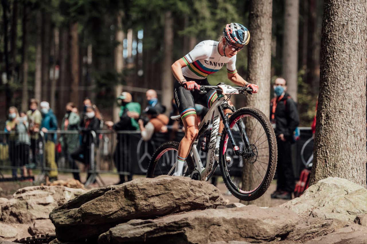 Pauline Ferrand Prevot performs at UCI XCO in Nove Mesto na Morave, Czech Republic on October 4th, 2020
