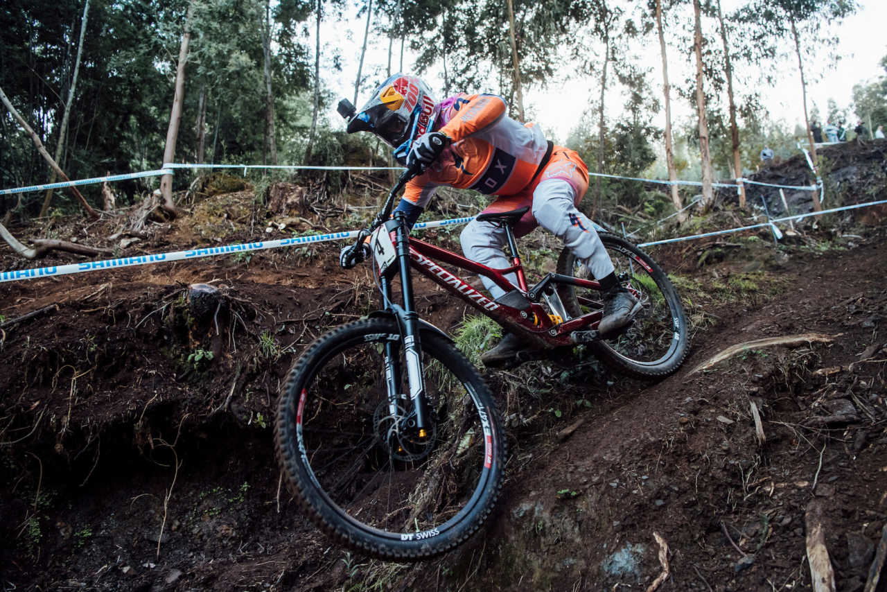 Loic Bruni performs at UCI DH World Cup in Lousa, Portugal on November 1st, 2020