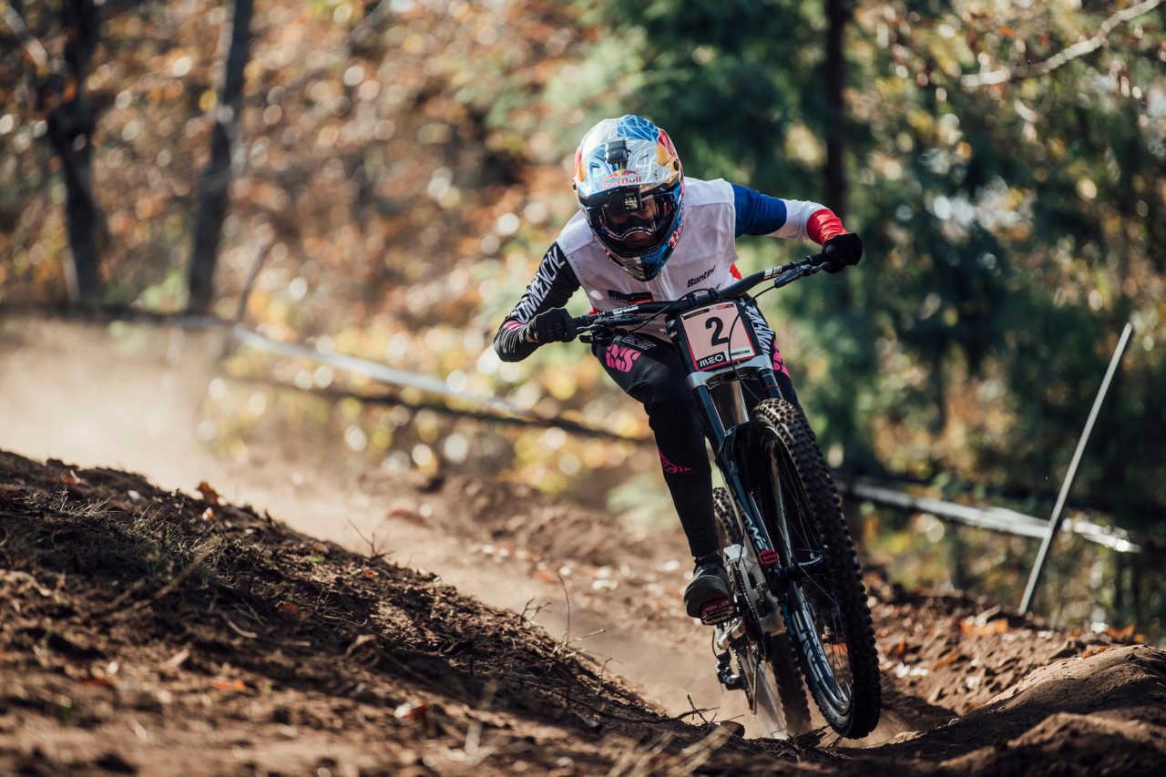 Myriam Nicole performs at UCI DH World Cup in Lousa, Portugal on November 1st, 2020