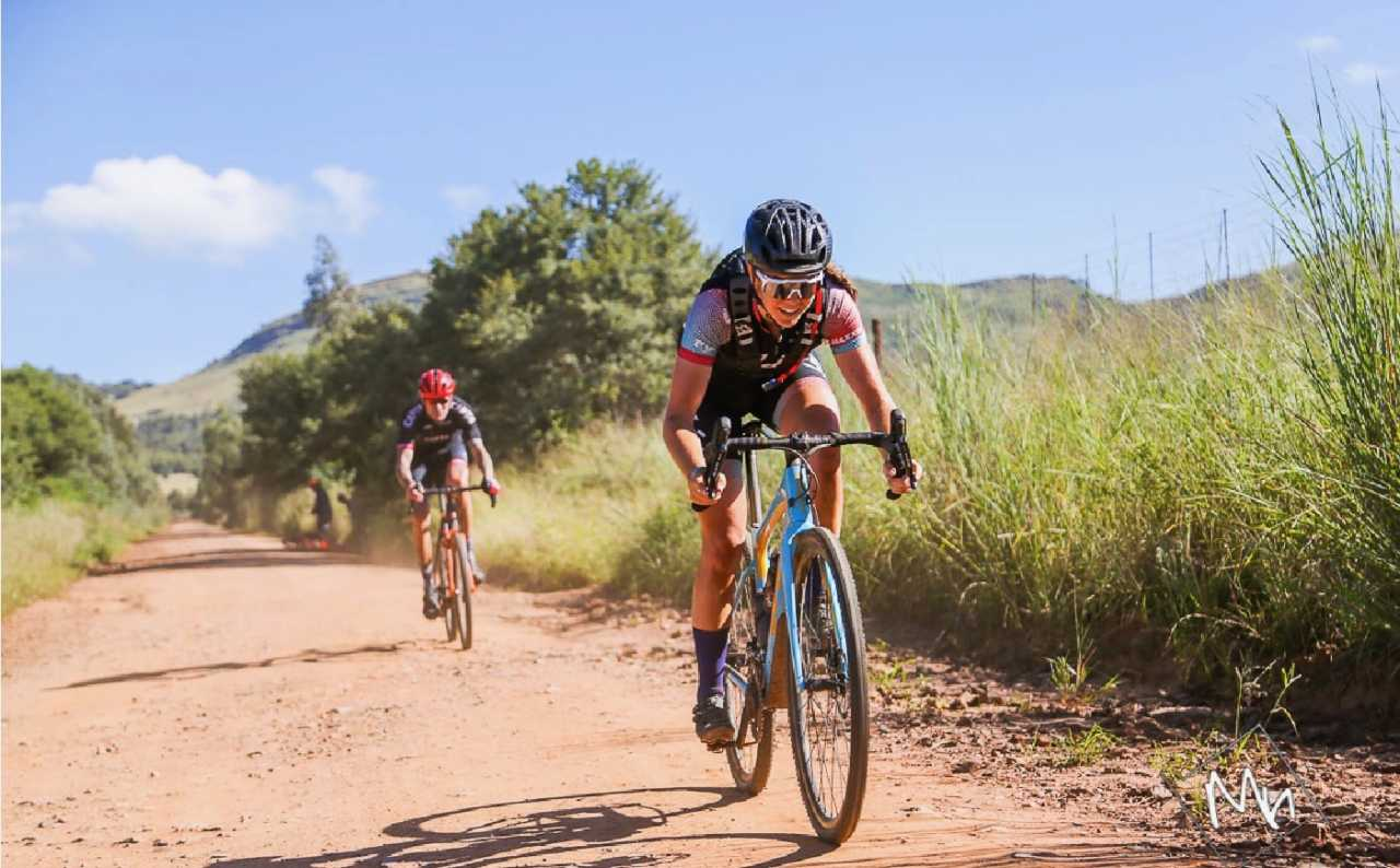 sarah hill in a gravel race