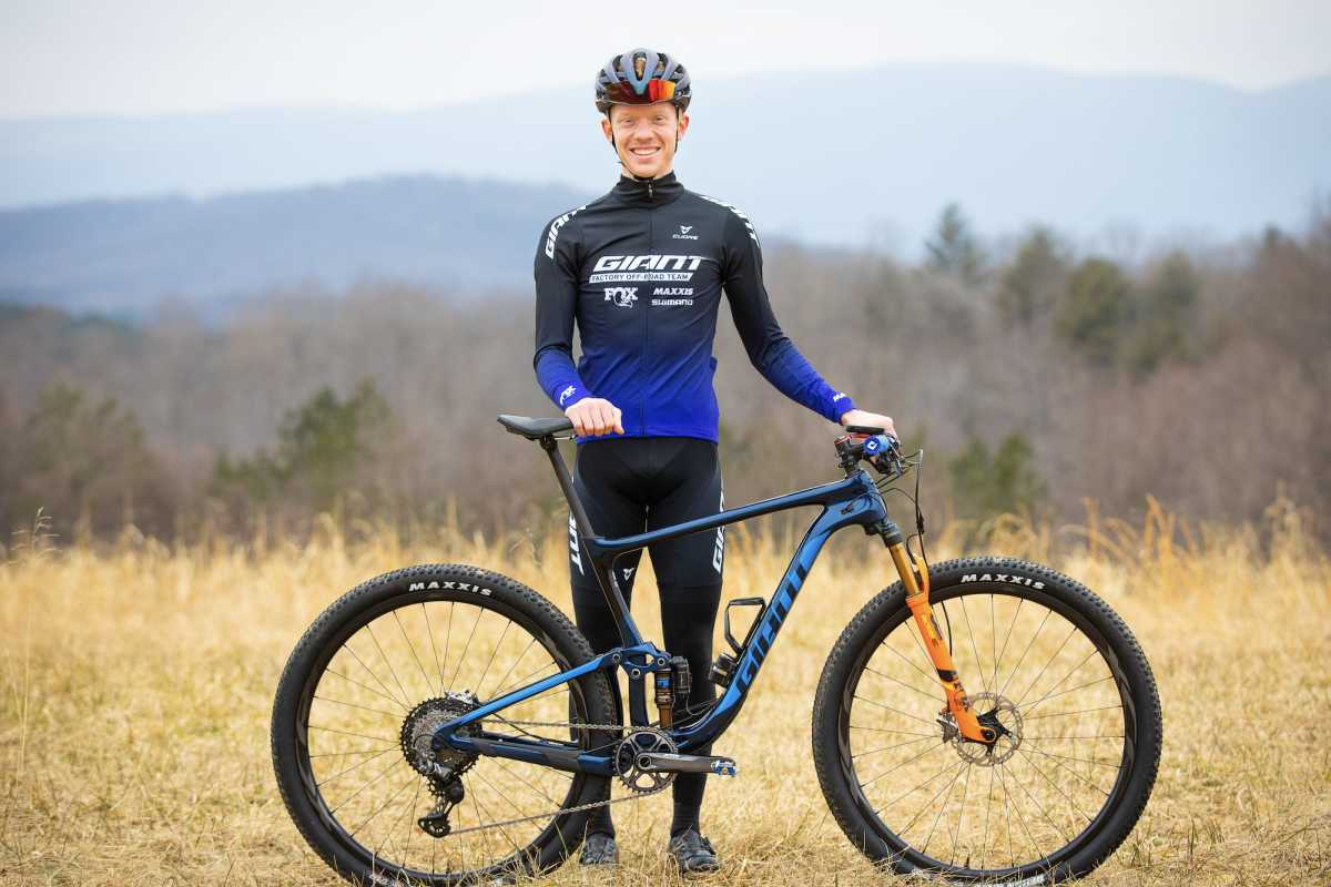 Luke Vrouwenvelder, pictured here with his Giant Anthem Advanced mountain bike