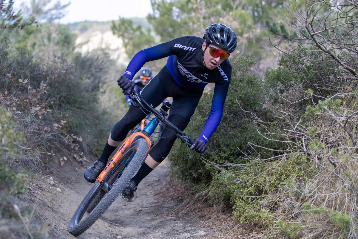 mountain bike rider cameron wright in action