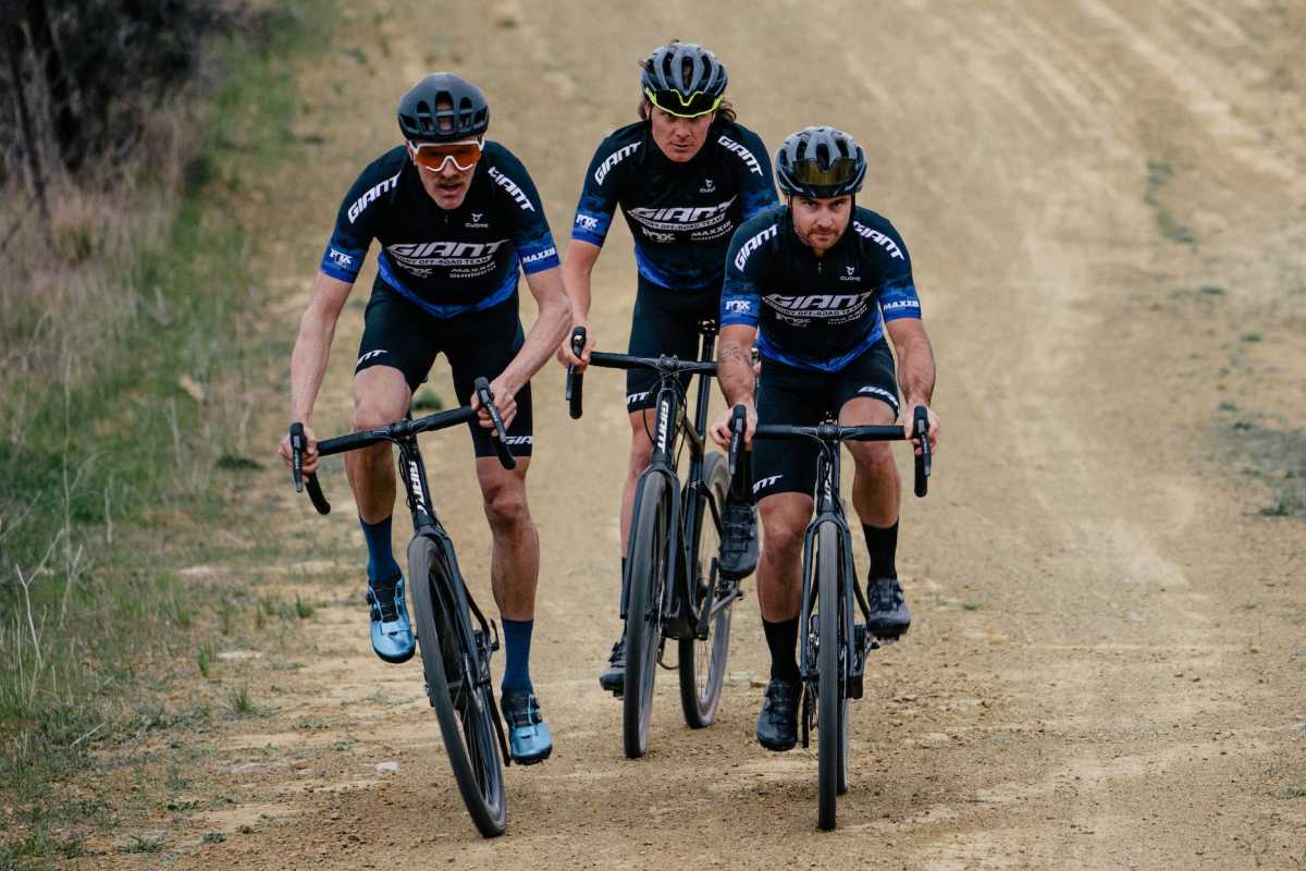 Gravel cyclists Josh Berry, Tristan Uhl and Carl Decker in action on their Giant bicycles