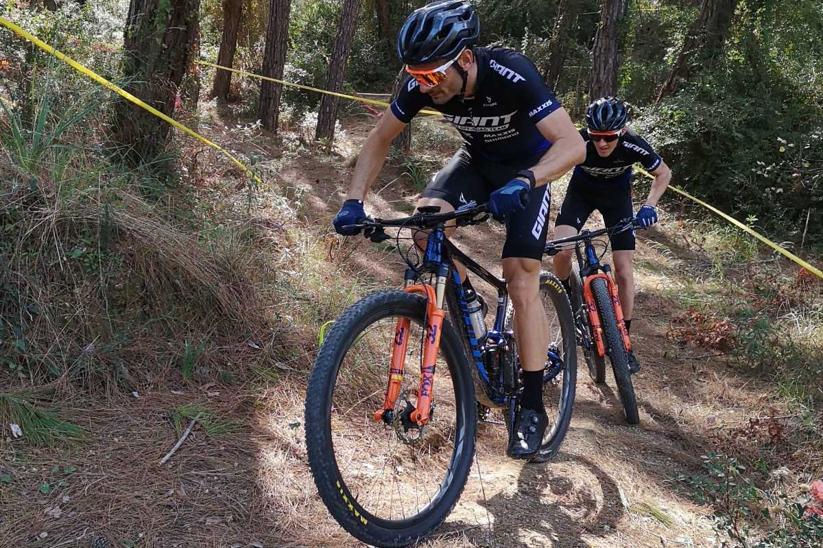 mountain bike riders Reto Indergand of Switzerland and Antoine Philipp of France in action