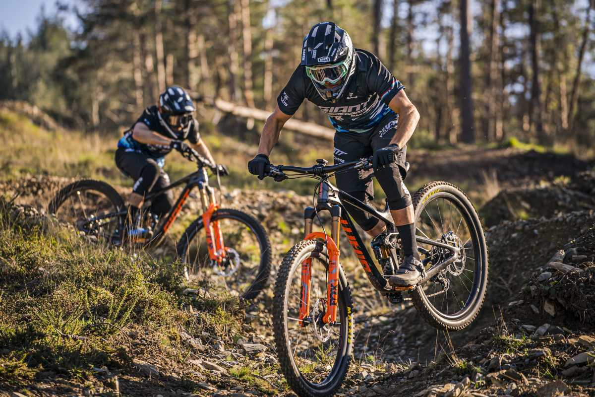 mountain bike riders Youn Deniaud and Mckay Vezina in action